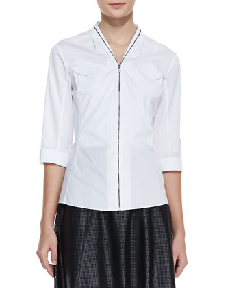 Fleur Zip-Front Blouse & Caroline Perforated Faux-Leather Skirt