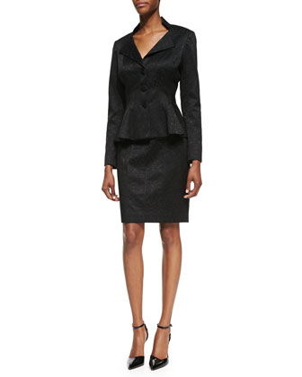 Long-Sleeve Three-Button Peplum Skirt Suit