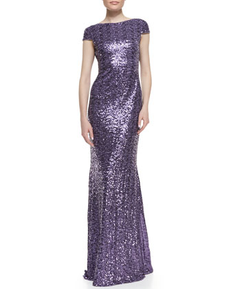 Cap-Sleeve Cowl-Back Sequined Gown, Lilac