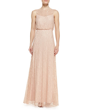 Sleeveless Beaded Lace Gown, Blush