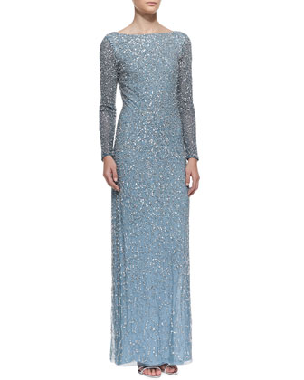 Long-Sleeve Sequined Gown, Ocean Blue