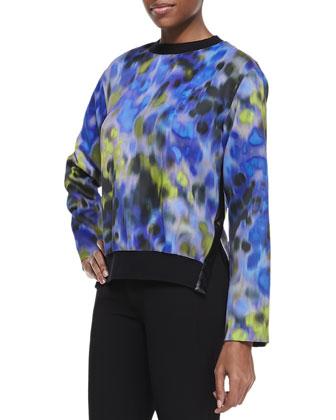 Long Sleeve Impressionist Print Sweatshirt, Sapphire/Multicolor