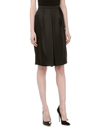 Front Pleated Full Skirt, Black