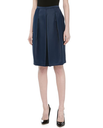 Front Pleated Full Skirt, Navy