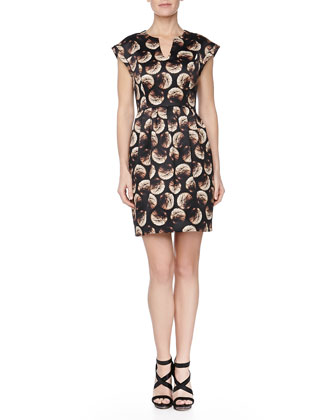 Firework-Print Satin Pleated Dress