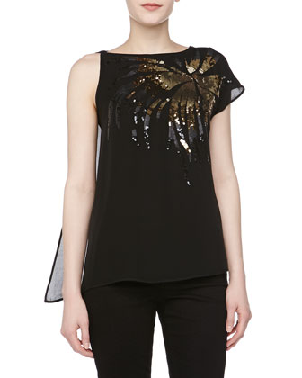 Sequin Sunburst Silk Top
