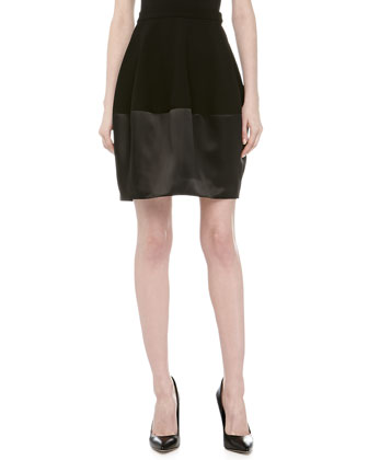 Contrast Satin & Knit Bell Skirt, Black