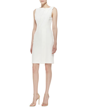 Fold-Neck Detail Dress, Bone