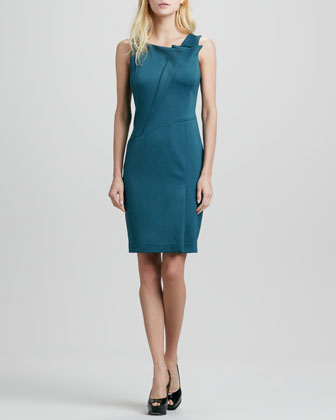 Fold-Neck Detail Dress
