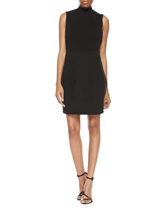 Sleeveless Mock-Neck Dress, Black