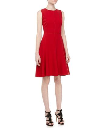 Exposed Seam Fit-And-Flare Dress, Crimson