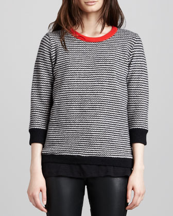 Striped Contrast-Neck Sweater, Black/Bone