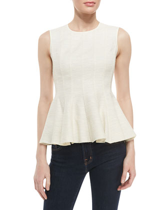 Sleeveless Peplum Top, Cream