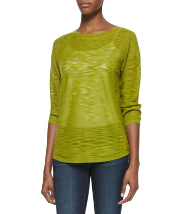 Half-Sleeve Slub Sweater, Apple Green