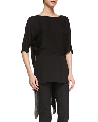 Drape-Back Georgette Top, Black