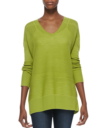 Perforated V-Neck Sweater, Apple Green