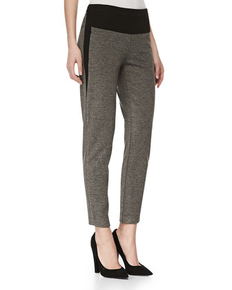 Marled Knit Ankle Pants, Dark Heather