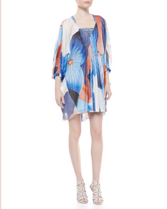 Fleurette Billow Sleeve Dress, Batik Land Large Print
