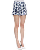 Napoli Printed Shorts, Batik Blue/White