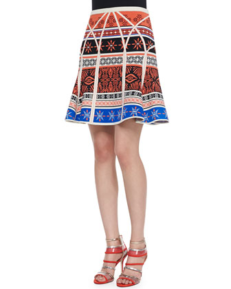 Lorelei Two Button-Down Blouse & Samara Desert Bands Print Fit-and-Flare Skirt