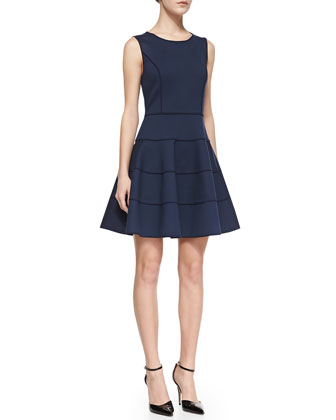 Sleeveless Ponte Fit-and-Flare Dress, Navy