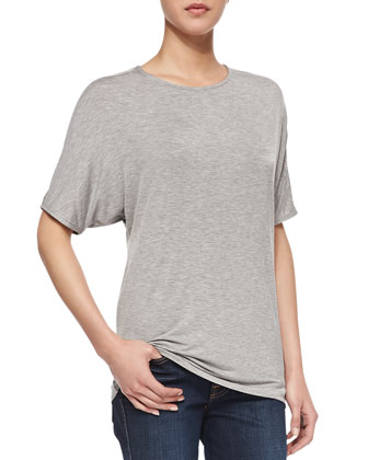 Short-Dolman-Sleeve Jersey Tee, Heather Gray