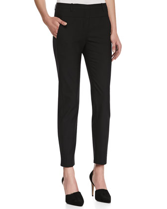 Skinny-Leg Suiting Pants, Black