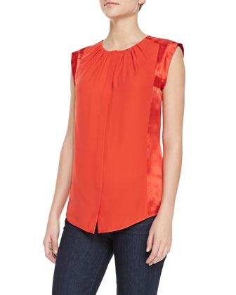 Sleeveless Ruched-Neck Top, Vermillion