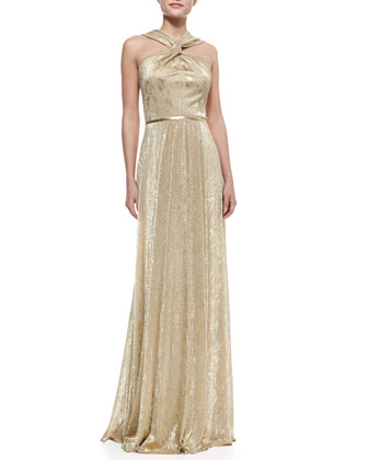 Halter-Style Metallic Gown, Gold