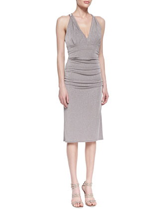 Sleeveless Shimmering Crisscross-Back Cocktail Dress, Taupe