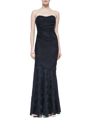 Strapless Sweetheart Ruched Gown, Navy/Black