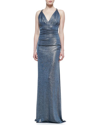 Sleeveless Ruched Metallic Gown, Blue/Gold