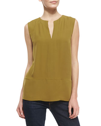 Sleeveless Silk Split-Neck Top, Amber Green