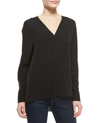 Deep-V-Neck Silk Top, Black