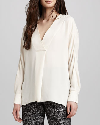 Deep-V-Neck Silk Top