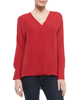 Deep-V-Neck Silk Top, Crimson