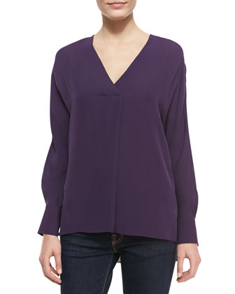 Deep-V-Neck Silk Top, Eggplant