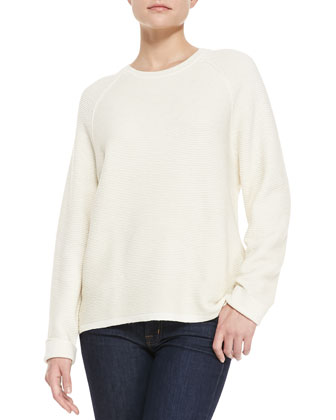 Long-Sleeve Ribbed Jacquard Sweater, Bone