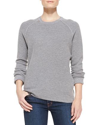 Long-Sleeve Ribbed Jacquard Sweater, Gray