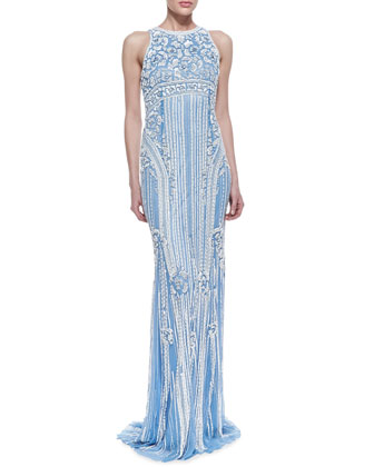 Sleeveless Sequined Deco-Patterned Gown, Sky Blue
