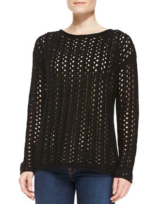 Open-Stitch Sweater, Black