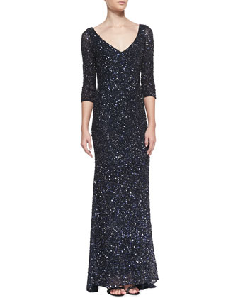 3/4-Sleeve V-Neck Sequined Gown, Carbonized Midnight
