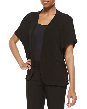 Open Capelet with Pockets, Black