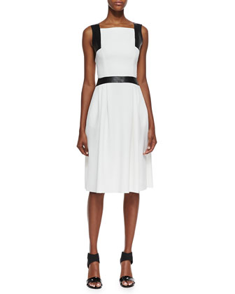 Sleeveless Leather-Trim Dress, Ivory, Black
