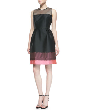 Sleeveless Colorblock Band Cocktail Dress, Multicolor