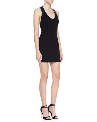 Lauren Sleeveless Racerback Dress, Black