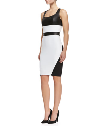 Rachel Colorblock Cutout-Back Sheath Dress, Black/White