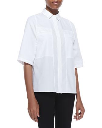 Poplin Short-Sleeve Boxy Shirt, Cotton