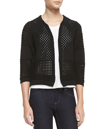 Mixed-Weave Knit 3/4-Sleeve Cardigan, Black