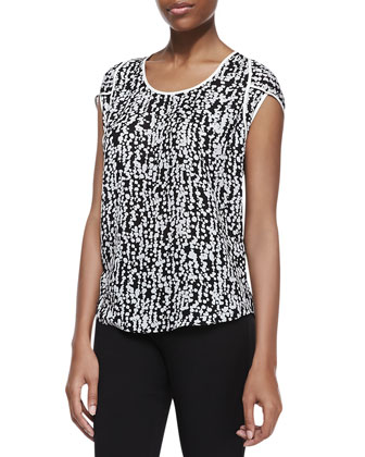 Silk Printed Scoop-Neck Top, Black Fading Dots